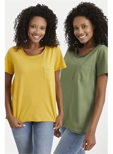 Curly  Bisiklet Yakalı Sarı/ 2'Li T-Shirt Sarı